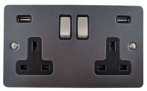 G&H FP3910 Flat Plate Pewter 2 Gang Double 13A Switched Plug Socket 2.1A USB